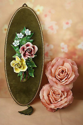 Antique French Green velvet with porcelain ceramic roses wall decoration