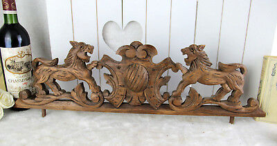 French antique wood carved Lions cabinet pediment fronton louis XVI