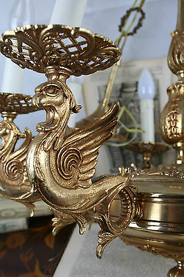 Unusual Gothic DRAGON Brass chandelier France 1920 chimaera rare special