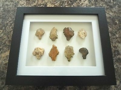 Paleolithic Arrowheads in 3D Picture Frame, Authentic Artifacts 70,000BC (V016)