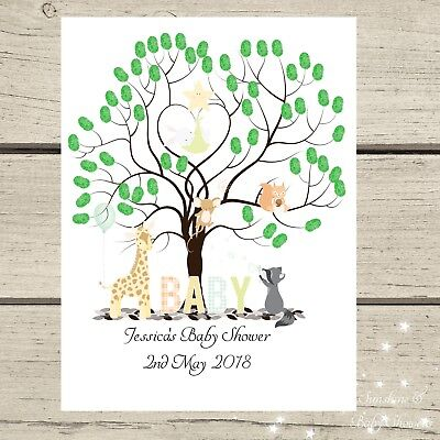 Finger Print Tree Nursery Animals PERSONALISED A3 A4 Baby Shower INC INK PAD