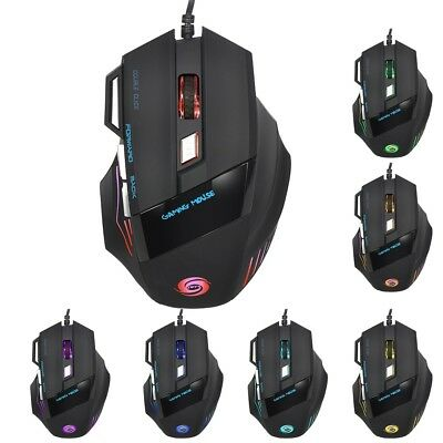 JWFY USB Wired LED Optical Gaming Mouse Plastic 5500DPI 7 Buttons 1.5m Cable