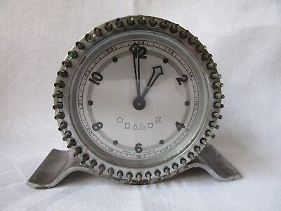 Rare Collectible Art Deco Chrome Desk Clock Machine Age by Oralux,Made in France