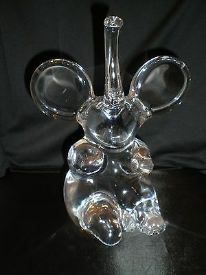 Daum France Glass Crystal Large Trumpeting Elephant - Signed - EX Condition