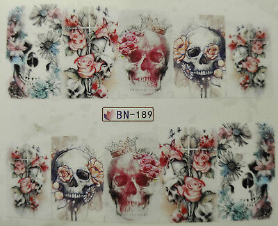 nagelsticker tattoo totenkopf mit blumen skull with. Black Bedroom Furniture Sets. Home Design Ideas