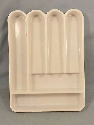 Vintage Mid Century Mod INGRID Chicago Flatware Utensil Drawer Organizer WHITE