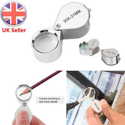 Mini 30X Magnifier Jeweller Jewelry Eye Glass 21mm Loop Lens Magnifying Loupe UK