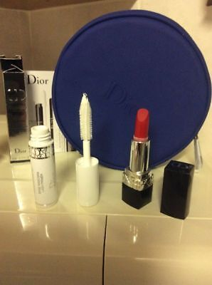 Dior Makeup Pouch Mini Rouge Dior Lipstick 999 And Backstage Pumping Lash Primer