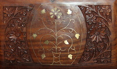 Vintage hand carved floral wood box with inlaid brass decoration