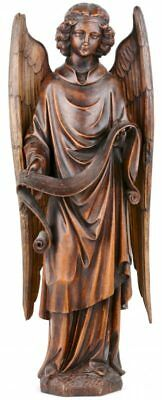 HUGE French antique wood carved church Angel archangel Gabriel statue figurine