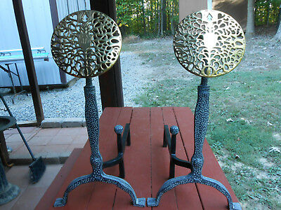 "Andirons Cast Iron Brass Large Medallion Verdigris 26"" T. Virginia Metalcrafters"