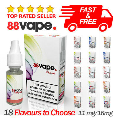 88 Vape 20x 10ml (200ml) PG/VG 80/20 E-Liquid Juice Vaping Nicotine 11/16mg