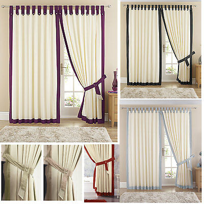 Claremont Tab Top Lined Curtains with 10 Different Trims - Stock Must Go
