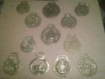 Vintage Antique Horse Brass Tack Show Dress Medallions Collection Lot Of 12!!!