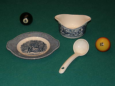 Royal  China  Currier  Ives  Blue  Gravy , Underplate , Ladle  ==  Rare