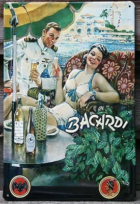 Embossed Vintage Retro Style Metal Sign Bacardi Cuba View Rum Bar Pub Home Decor
