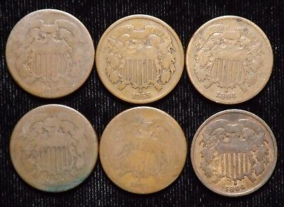 Lot of 6 United States 2 Cent Pieces  Circulated Condition