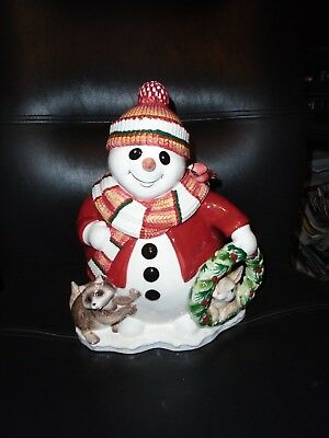 2003 Fitz & Floyd Woodland Snowman Cookie Jar