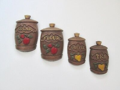SET of 4 Vtg 60s Mid Century Modern Sexton Metal Wall Plaques Kitchen Canisters