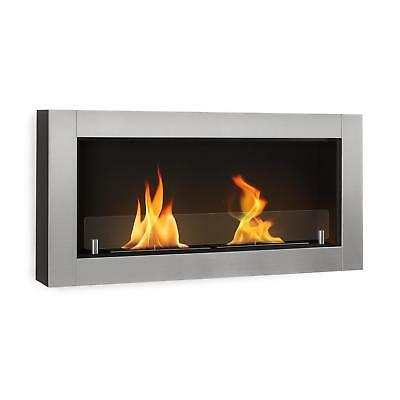 Modern Fireplace Bio Ethanol 3 hours Burn Wall Mount Heating Rooms Flames Silver