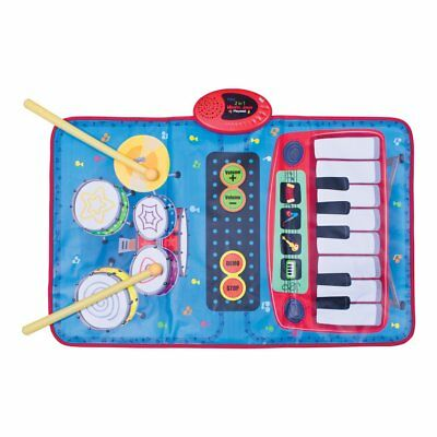 2 in 1 Musical Childrens Playmat Keyboard Piano Drum Kit Instrument With Sticks