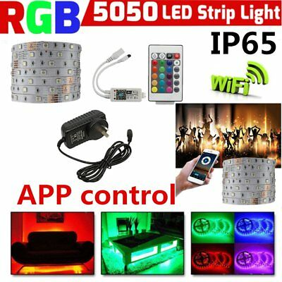 5M RGB 5050 Waterproof LED Strip light APP Wifi Control SMD 24 Key Remote 12V CC