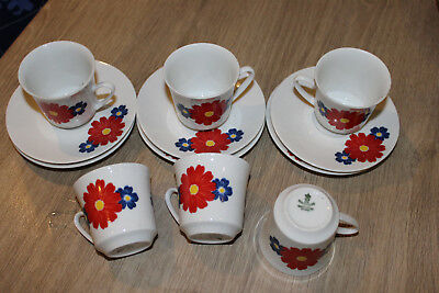 6 TASSES et SOUS TASSES A CAFE DESIGN 70, FLOWER POWER, BAVARIA