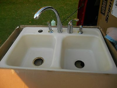 Vintage Cast Iron Porcelain Kohler 5 Hole Farmhouse Kitchen Sink w Kohler Faucet