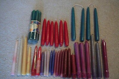 "Large Mixed Lot of 40 Vintage Colored Taper Candles in Various Sizes  5"" 8"" 10""+"