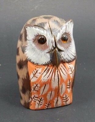 Hand Painted Wood Owl