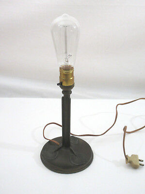 "Antique Bradley Hubbard B&H 1 Socket Art Nouveau Cast Metal Table Lamp 10"" tall"