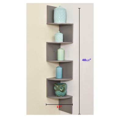Black Zig Zag Corner Wall Shelf Home Decor Display Curio Storage