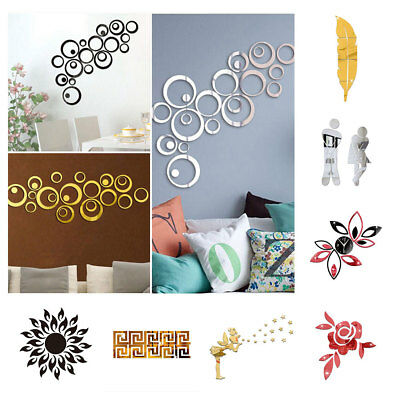 Modern Mirror Style Removable Decal Art Mural Wall Sticker Home Room DIY Décor