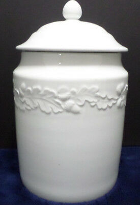 Vintage Ceramic Cookie Jar or Canister Flower Acorn and leaves design