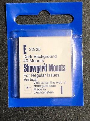 SHOWGARD STAMP MOUNTS E 22/25 Pack of 40 - REG. ISSUES VERT -***WE HELP OUR VETS