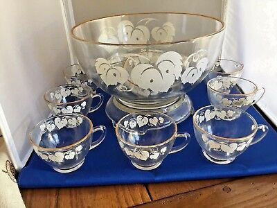 Anchor Hocking Anchorglass 14 piece Punch bowl set with original box