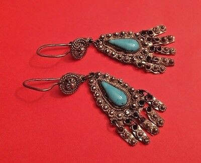 Russian Empire 84 Silver Earrings with Turquoise.19 century