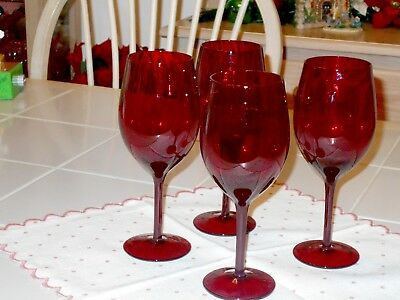 """Set of 4 Vintage   RUBY RED WATER GOBLETS Hand Blown  8 1/4"""" Tall Nice"""