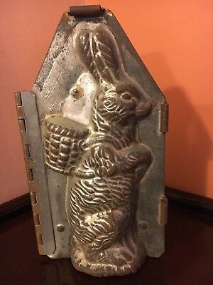"Antique Chocolate Mold -9 3/4"" Sitting Up Rabbit w/ Basket on Back w/ Provenance"