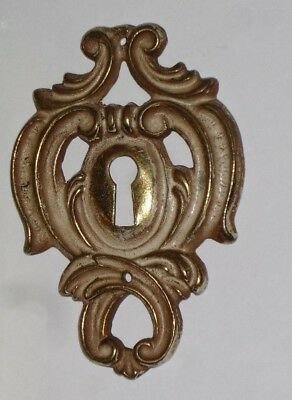 "Vintage/Antique Ornate Brass Eschutcheon Key Hole Cover 3"" Tall  #K13395"