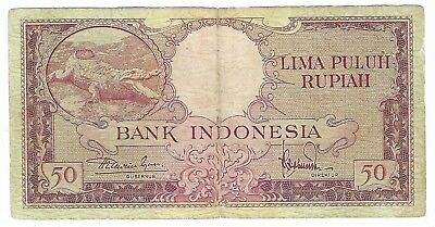INDONESIA 50 Rupiah 1957 P 50. Circulated. CROCODILE.