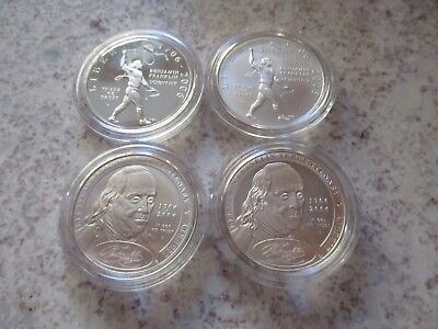 2006 Set of 4 Franklin Founding Father & Scientist Silver Dollars BU and Proof!