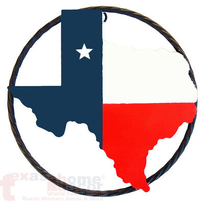9 Western Rustic Texas Map Outline Flag Star Twisted Wire Ring Wall Sign Plaque