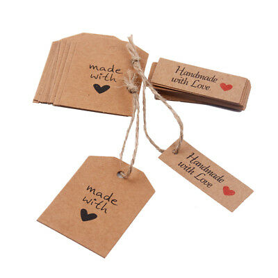 50Pcs Kraft Paper Handmade with Love Tags Craft Party Blank Card Wedding Decor