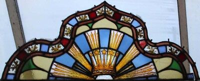 Huge Victorian Painted Stained Glass Window Crown With Rays Of Light Awesome