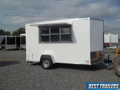 tall 6x12 New concession vending trailer white 6 x 12 enclosed cargo trailer