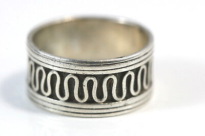 "D425 Wide Snake Serpentine Band Sterling 925 3/8"" wide Ring Size 5 3/4"
