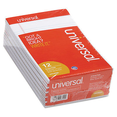 12 pk Universal 5 x 8 White Pads Jr Legal Size Narrow Rule Perforated 50 Sheet