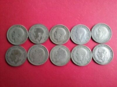 Great Britain (UK) - Lot of 10 - One Shilling - 50% Silver Coins - Circulated