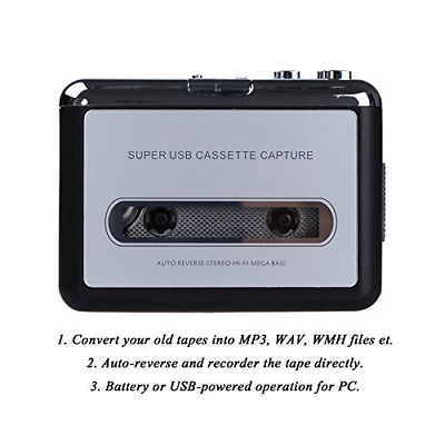 Portable USB Cassette Player and Tape to Digital MP3 Converter Old School Gadget